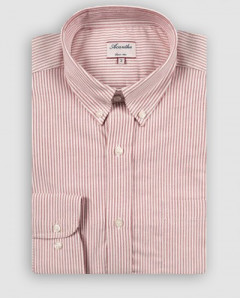 Chemise manches longues oxford rayé rouge