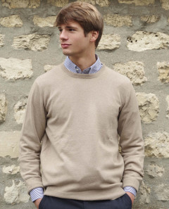 Pull col rond beige 100% cachemire