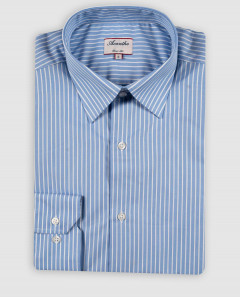 Chemise col italien rayures blanches fond bleu