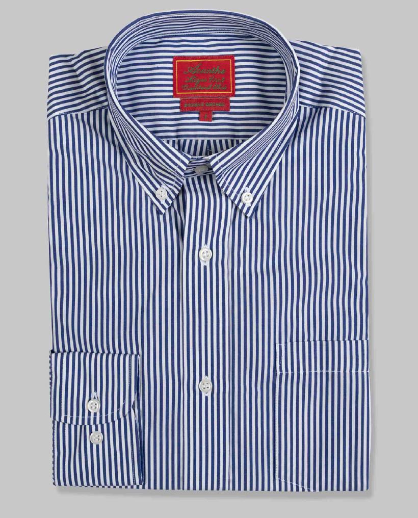 Chemise col boutonné rayée marine