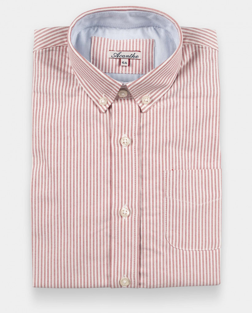 Chemise manches longues oxford rayé rouge 12-14 ans