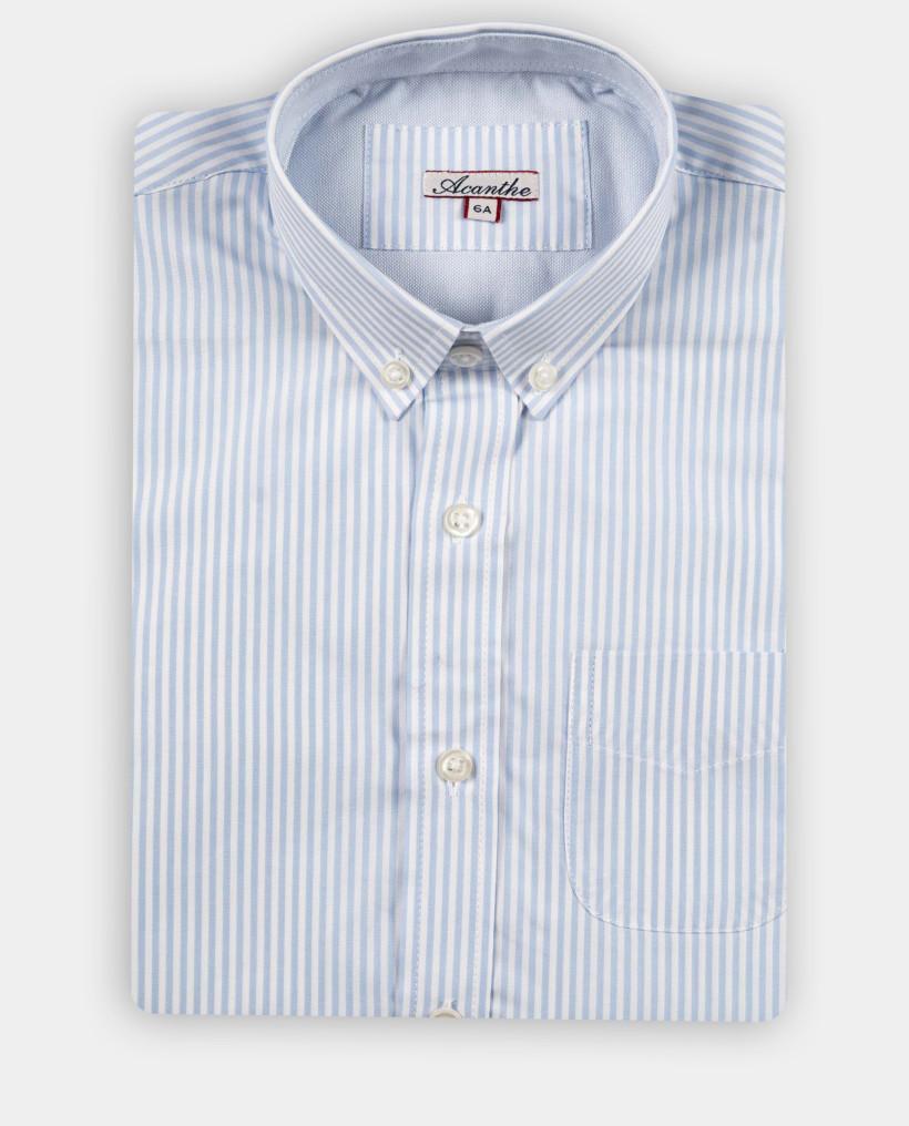 chemise ml oxford rayure ciel 12-14 ans