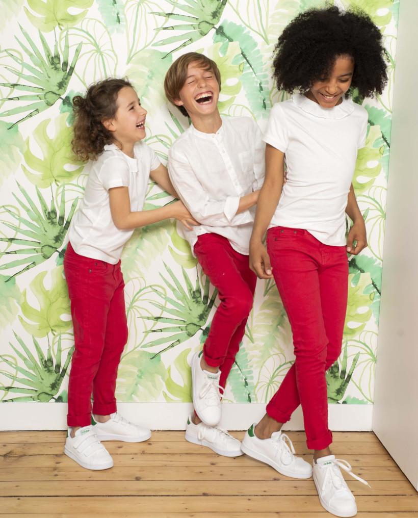 Pantalon fille 5 poches rouge stretch