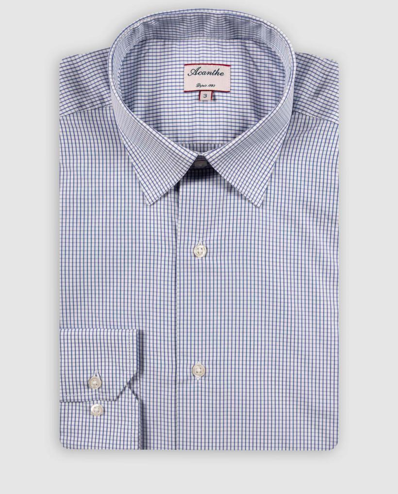Chemise col italien petit carreau bleu moyen