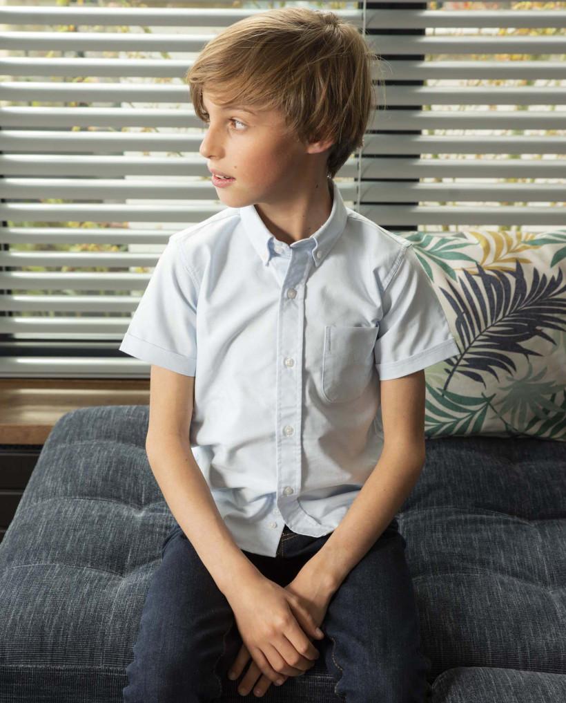 chemise oxford manche courte ciel 12-14 ans