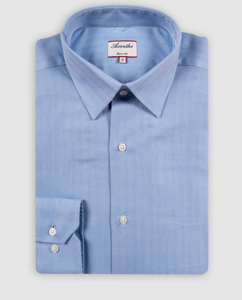 chemise col italien grand chevron