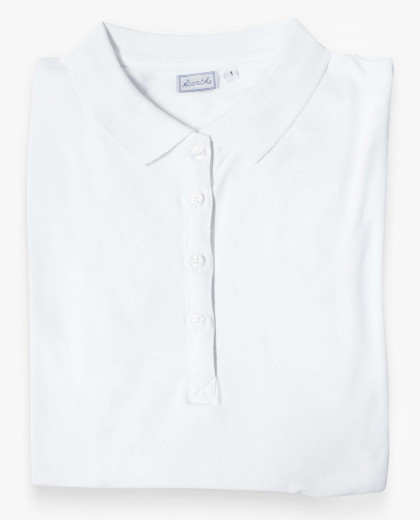 Polo coton stretch manches longues blanc femme