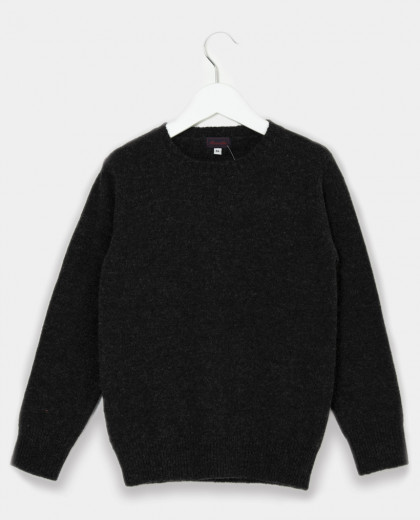 Pull col rond anthracite 100% laine d'agneau