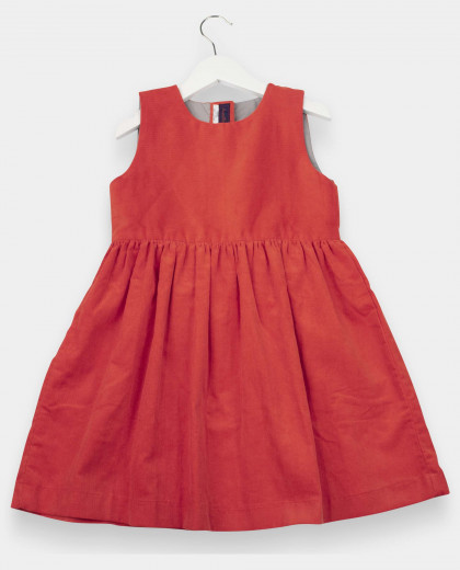 Robe velours sans manches rouge