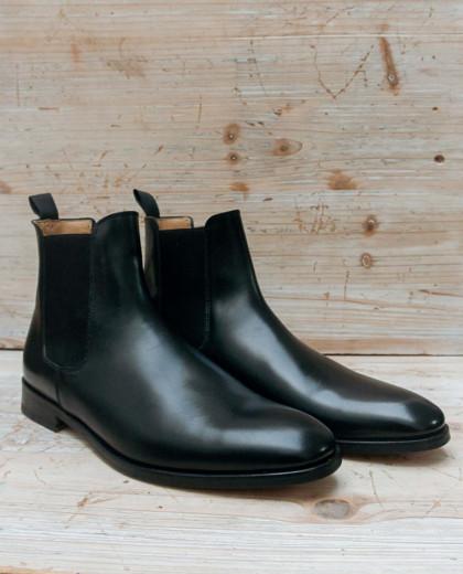 Boots élastique cuir noir