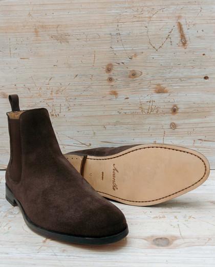 Boots élastique suède marron