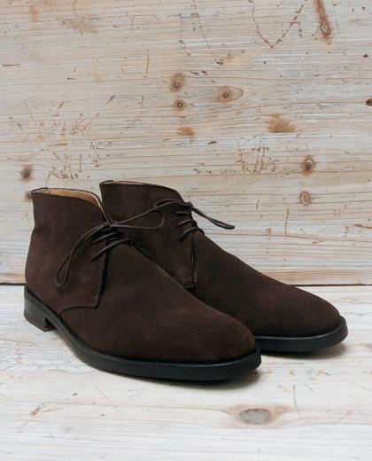 Boots à lacet nubuck marron