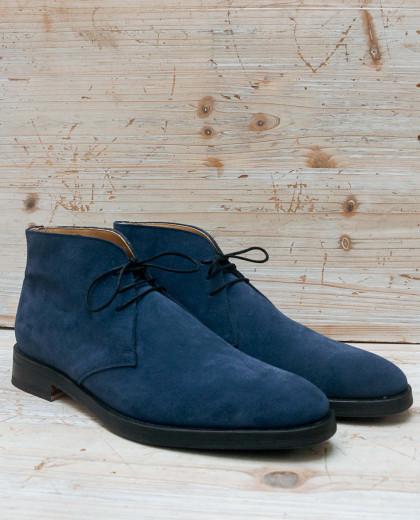 Boots à lacet nubuck bleu