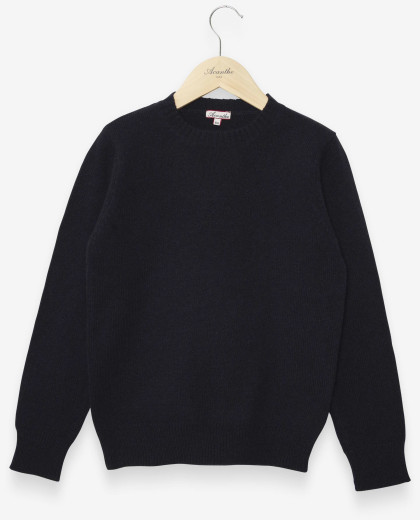 Pull col rond marine 100% lambswool