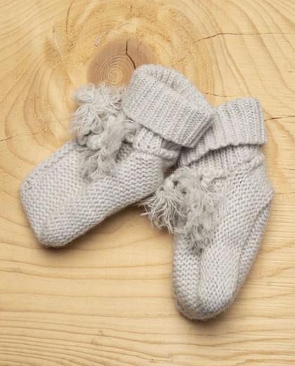 Chaussons naissance laine-cachemire gris pâle