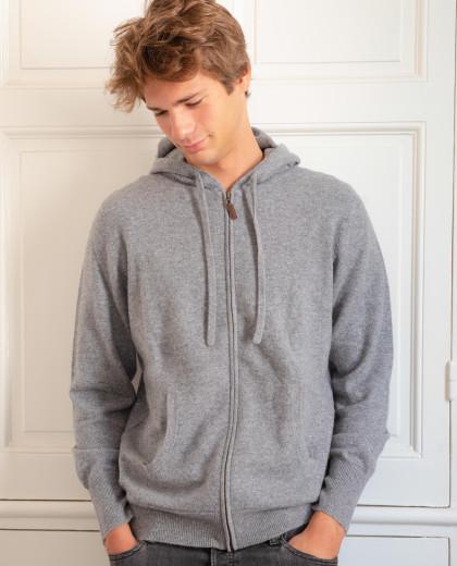 Pull à capuche gris 100% cachemire