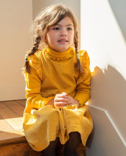 Robe velours sans manches jaune