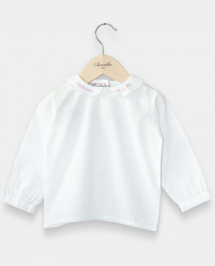 Chemisier col rond blanc broderie rose