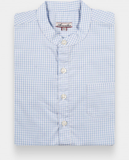 Chemise manches longues col mao vichy ciel