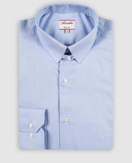 Chemise col anglais fil à fil ciel