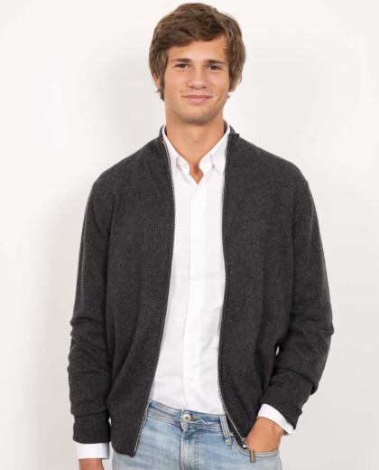 Cardigan zippé gris foncé 100% cachemire