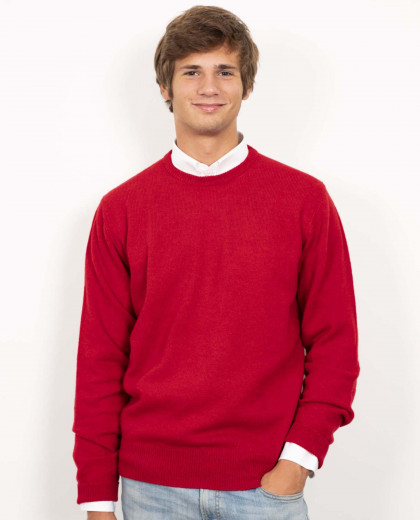 Pull col rond rouge 100% lambswool