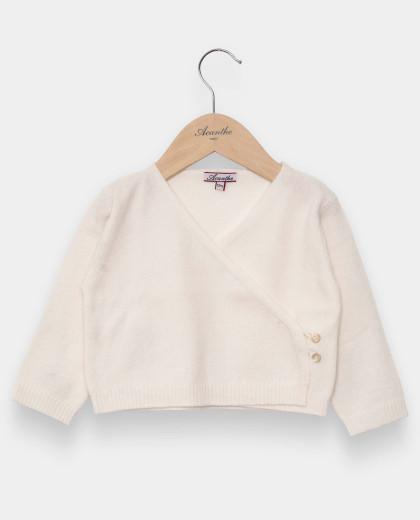 Cache-cœur naissance laine-cachemire écru