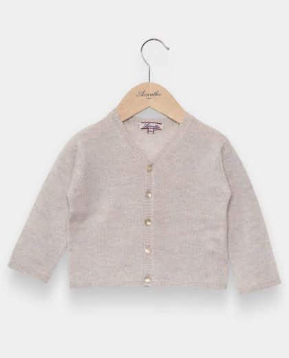 Cardigan naissance col V laine-cachemire gris pâle