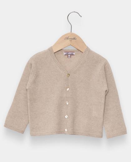 Cardigan naissance col V laine-cachemire beige