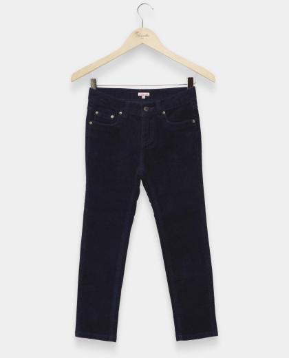 pantalon 5 poches velours stretch marine