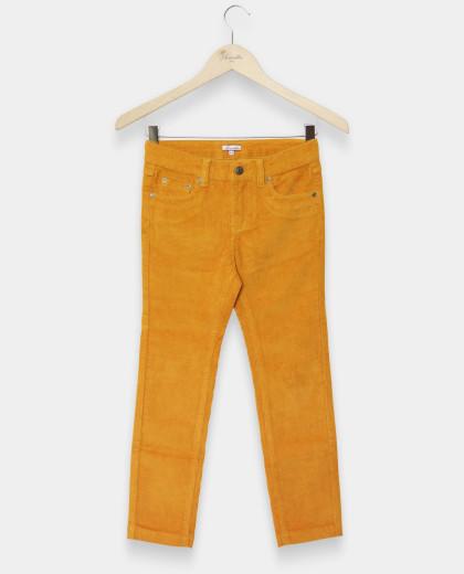 pantalon 5 poches velours stretch moutarde
