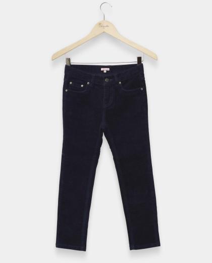 pantalon 5 poches velours stretch marine 12-14 ans