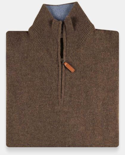 Pull col zippé brun 100% lambswool