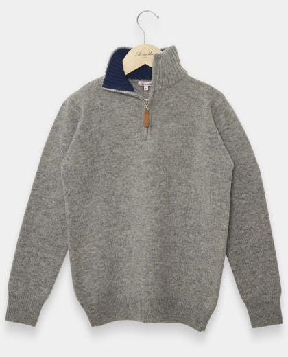 Pull col zippé gris 100% lambswool 12-14 ans