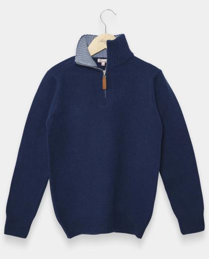 Pull col zippé marine clair 100% lambswool 12-14 ans