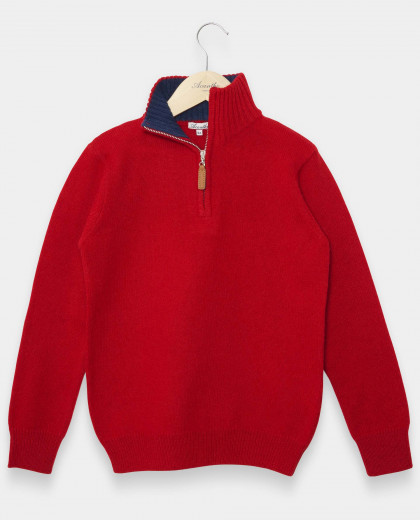 Pull col zippé rouge 100% lambswool 12-14 ans