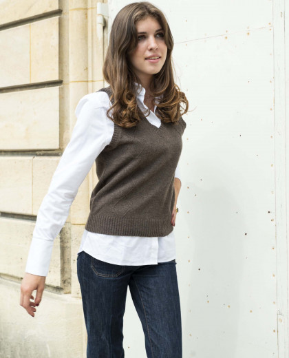 Pull sans manches brun 100% lambswool