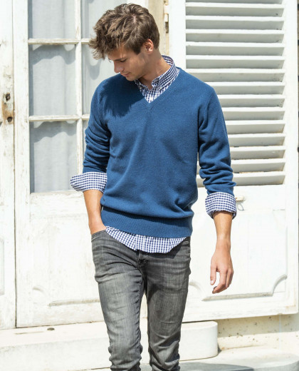 Pull col V marine clair 100% lambswool