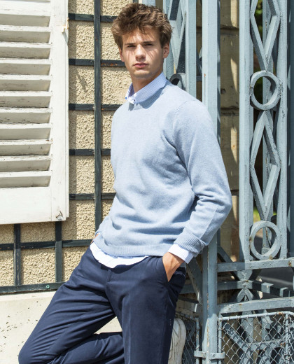 Pull col rond denim clair 100% lambswool