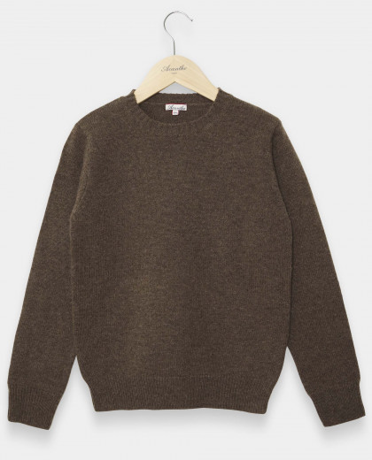 Pull col rond brun 100% lambswool