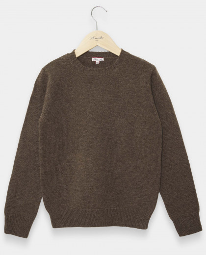 Pull col rond brun 100% lambswool 12-14 ans