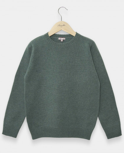Pull col rond  vert 100% lambswool 12-14 ans