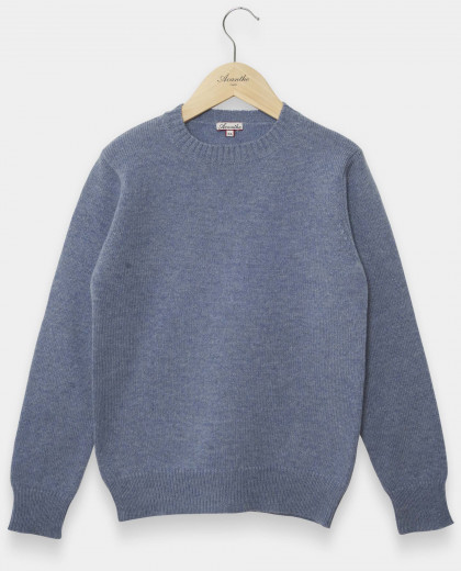 Pull col rond denim clair 100% lambswool 12-14 ans