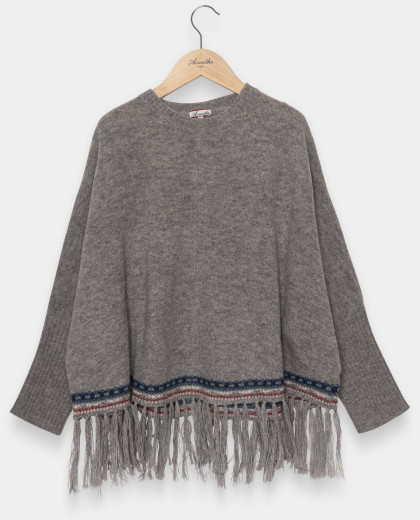 Poncho cape gris 100% lambswool