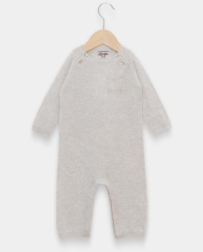 Combinaison naissance col rond laine-cachemire gris