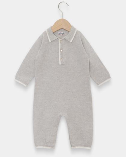 Combinaison naissance col polo laine-cachemire gris pâle