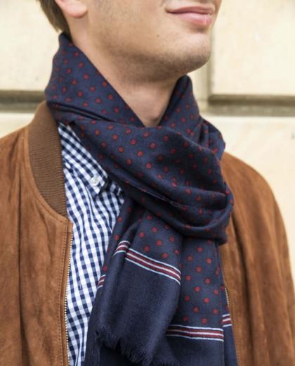 Echarpe imprimé pois en laine