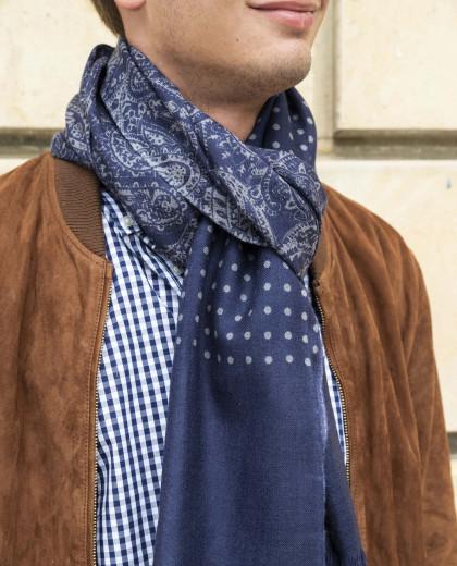 Echarpe imprimé cachemire en laine