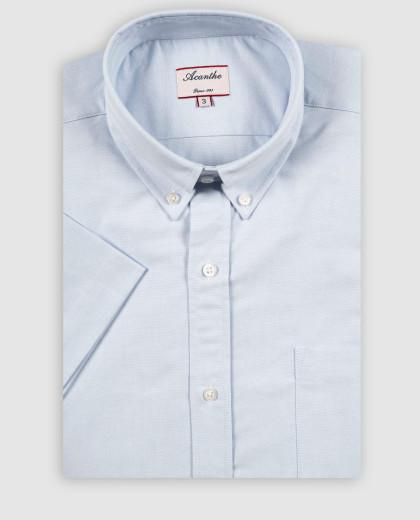 Chemise col boutonné oxford ciel manches courtes