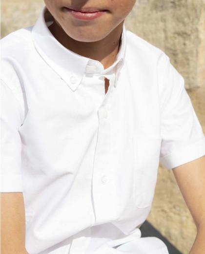 chemise oxford manche courte blanche